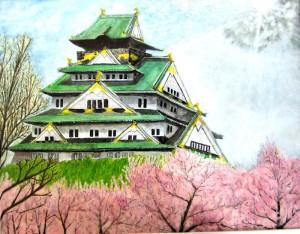 春雨後の大阪城