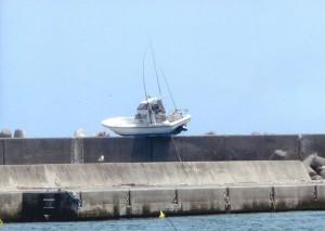 堤防に上った舟